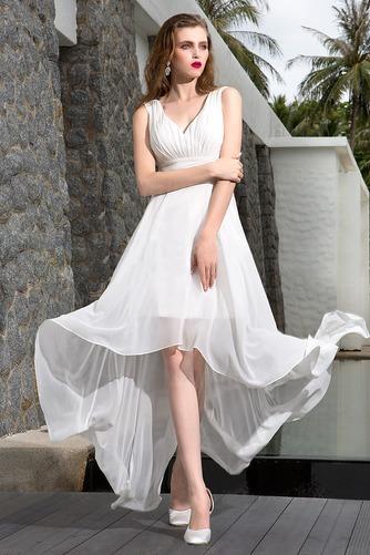 Vestido de novia Asimétrico Dobladillo Escote en V Corte-A Sin mangas - Página 1