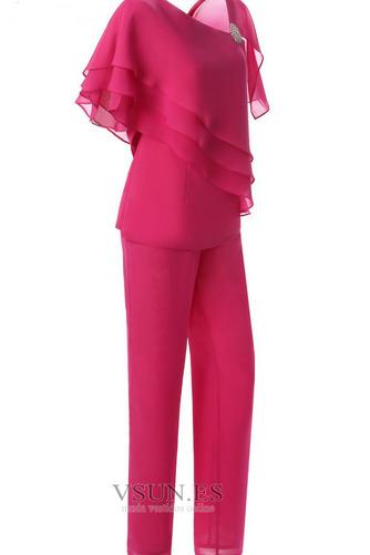 Vestido de madrina Sencillo Natural Hasta el Tobillo Escote Asimètrico - Página 1