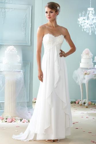 Vestido de novia Playa Cremallera Sin mangas Imperio Cintura largo Escote Corazón - Página 1
