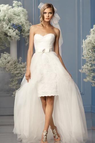 Vestido de novia tul Fajas Sin mangas Asimètrico Fuera de casa largo - Página 1