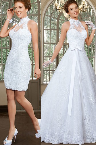 Vestido de novia Apliques Sin mangas primavera Alto cubierto Corte-A - Página 1