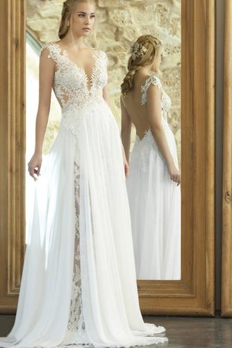 Vestido de novia Romántico Escote en V Corte-A primavera Apliques Pura espalda - Página 1