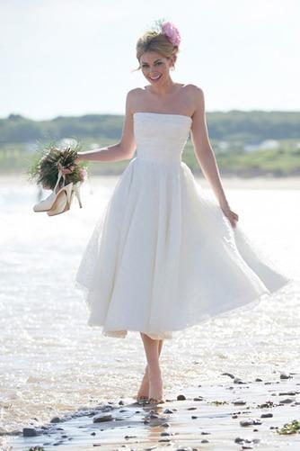 Vestido de novia Sin tirantes Fuera de casa Glamouroso Sin mangas Corte-A - Página 1
