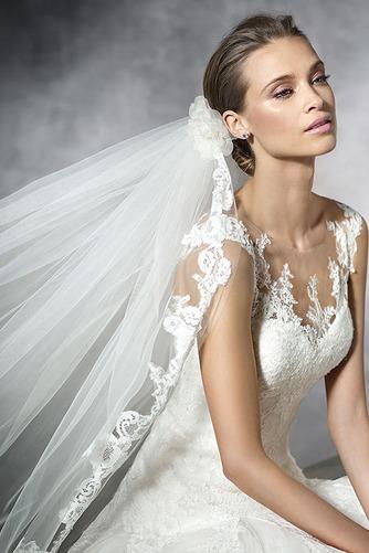Vestido de novia tul Corte-A Con velo Joya Cola Barriba Cremallera - Página 3