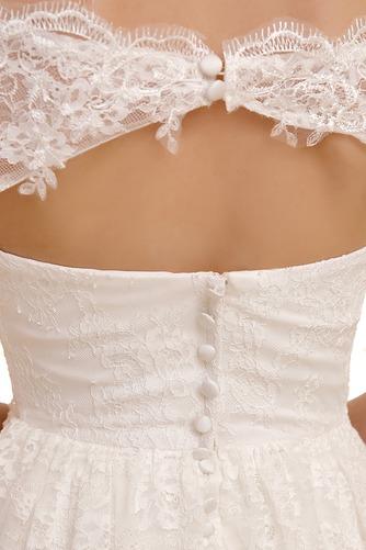 Vestido de novia Playa Encaje Cremallera Mangas Illusion Hasta la Rodilla - Página 4