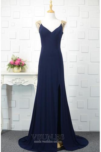 Vestido de noche vendimia Corte-A Escote en V Frontal Dividida Natural - Página 1