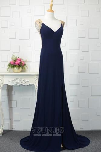 Vestido de noche vendimia Corte-A Escote en V Frontal Dividida Natural - Página 2