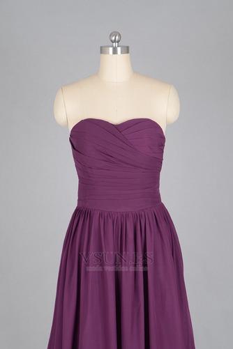 Vestido de dama de honor Verano Sin mangas Gasa Pera Sencillo ciruela persa - Página 4