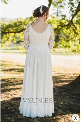 Vestido de novia Encaje Embarazadas Escote redondo Gasa Mangas Illusion - Página 2