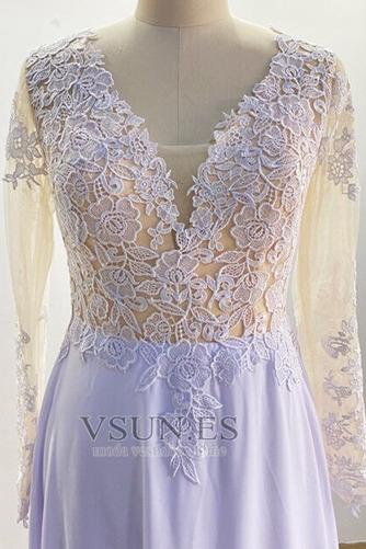 Vestido de novia Playa Mangas Illusion Manzana Corte-A Pura espalda - Página 3