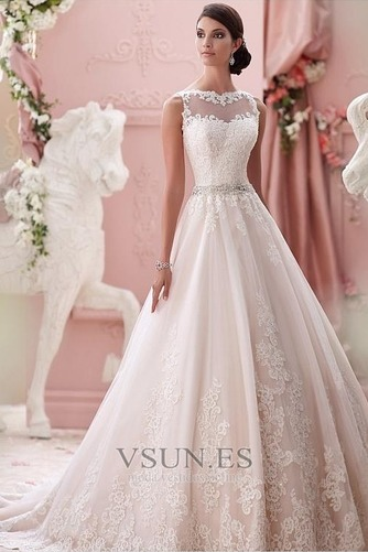 Vestido de novia Alto cubierto Joya Corte-A Cinturón de cuentas Apliques - Página 1