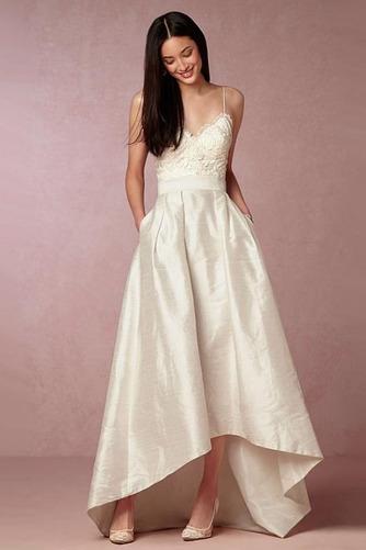 Vestido de novia Asimétrico Dobladillo Sin mangas Escote en V Asimètrico - Página 1