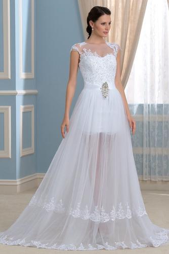 Vestido de novia Capa de encaje Falta Mangas Illusion Frontal Dividida - Página 3