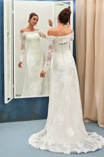 Vestido de novia vendimia Encaje Playa Alto cubierto Manga larga Natural - Página 7