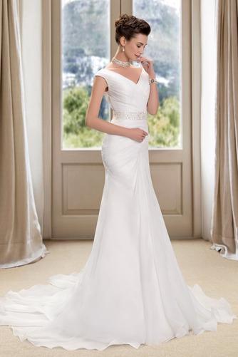 Vestido de novia Playa Cremallera Drapeado Pera Escote en V Corte Recto - Página 2
