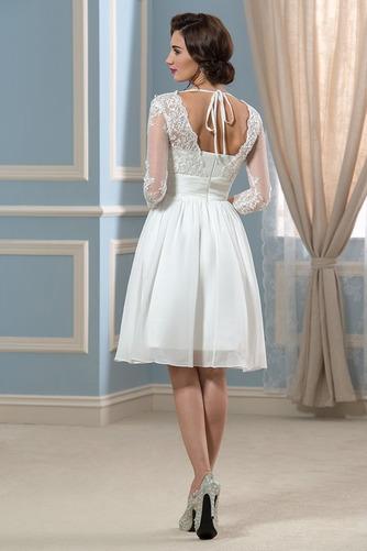 Vestido de novia Hasta la Rodilla Elegante Otoño Apliques Cremallera - Página 3
