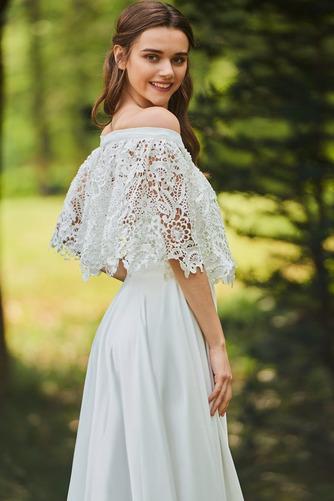 Vestido de novia Apliques Encaje Escote con Hombros caídos Tallas pequeñas - Página 4