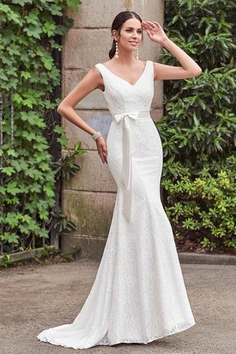 Vestido de novia Cordón Lazos Delgado Escote en V Natural Hasta el suelo - Página 3