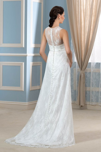 Vestido de novia Drapeado Pura espalda Joya Encaje Capa de encaje Sin mangas - Página 3