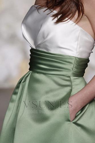 Vestido de dama de honor Verano Sin tirantes Manzana Satén Corte-A Bolsillos - Página 3