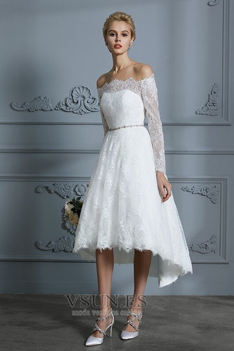 Vestido de novia Botón Moderno Pera Manga larga Asimétrico Dobladillo - Página 5