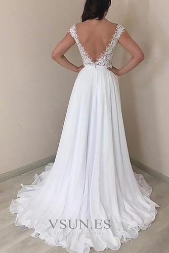 Vestido de novia Elegante Natural Sin mangas Cola Barriba Espalda Descubierta - Página 2