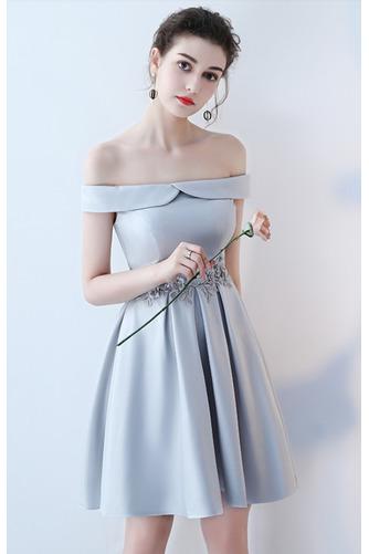 Vestido de dama de honor Cordón primavera Satén Un sólo hombro Sin mangas Bordado - Página 11