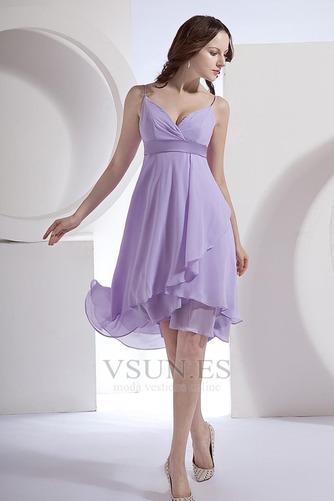 Vestido de dama de honor primavera Pera Escote de Tirantes Espaguetis Gasa Fajas - Página 2