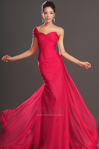 Vestido de noche rojos cereza Gasa Delgado largo Escote Asimètrico - Página 4