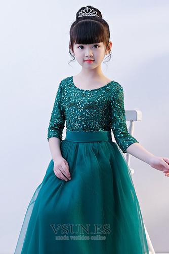 Vestido niña ceremonia Corte-A Natural Manga de longitud 3/4 tul Joya Camiseta - Página 5