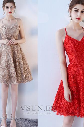 Vestido de cóctel Corte-A Apliques Glamouroso Encaje Escote de Tirantes Espaguetis - Página 7