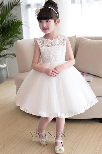 Vestido niña ceremonia Joya Arco Acentuado Otoño Falta Natural Hasta la Rodilla - Página 1