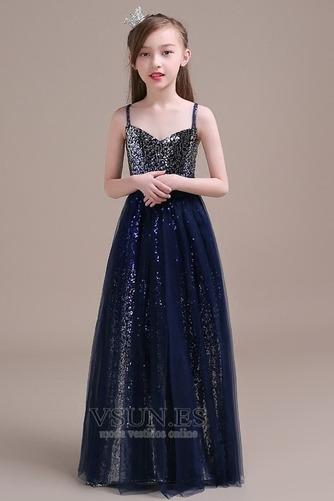 Vestido niña ceremonia Corpiño Con lentejuelas Sin mangas Corte-A Natural - Página 1