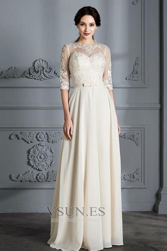 Vestido de novia Corte-A Apliques Capa de encaje Natural Falta Fuera de casa - Página 1