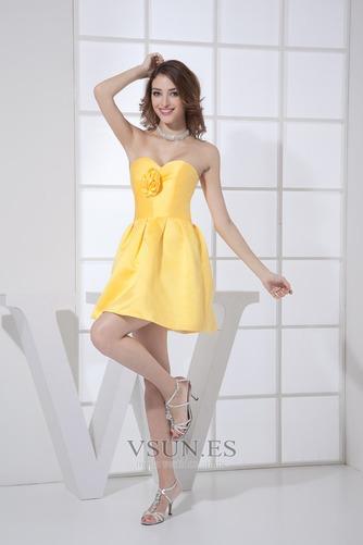 Vestido de dama de honor Corto Natural Falta Corte-A Satén Flores - Página 4