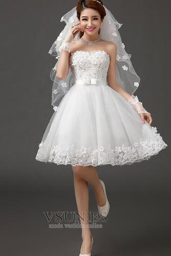 Vestido de novia Sin tirantes Falta Playa Verano Lazos Sin mangas - Página 1