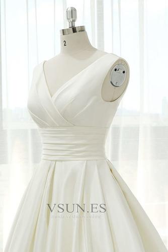Vestido de novia Blusa plisada Corte-A Sin mangas Natural Espalda Descubierta - Página 4