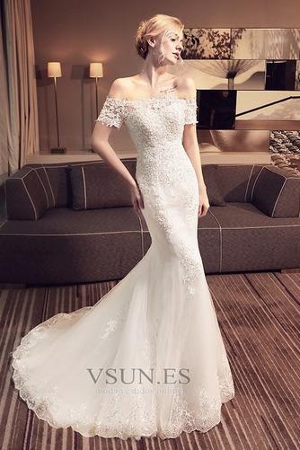 Vestido de novia Corte Sirena Encaje Iglesia Verano Escote con Hombros caídos - Página 1