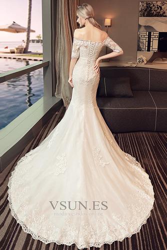 Vestido de novia Natural La mitad de manga Cordón Arco Acentuado Corte Sirena - Página 2