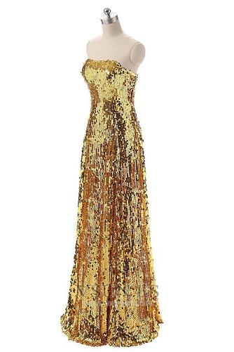 Vestido de fiesta Con lentejuelas Corte-A Natural Hasta el suelo Sin mangas - Página 3