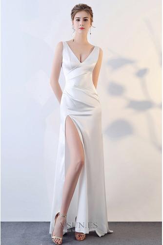 Vestido de fiesta Satén Baja escote en V Natural Espalda Descubierta - Página 9