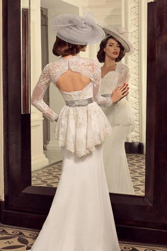 Vestido de novia Cola Barriba Escote Corazón Cordón Mangas Illusion - Página 2