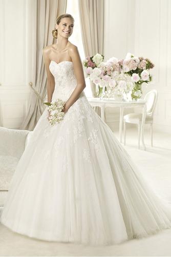 Vestido de novia Formal Sin mangas Encaje tul Escote Corazón Corte-A - Página 1