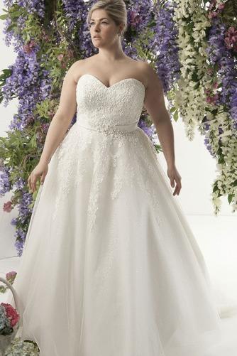 Vestido de novia Encaje Fajas largo Natural Escote Corazón Cordón - Página 1
