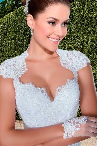 Vestido de novia Cola Capilla Cremallera Natural Encaje Apliques Queen Anne - Página 3
