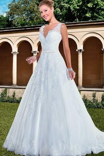 Vestido de novia Con velo Corte-A Apliques Otoño Natural Encaje - Página 1