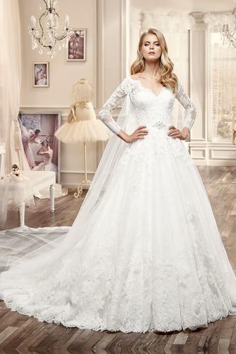 Vestido de novia Espalda medio descubierto Bola Natural Apliques Sala - Página 1