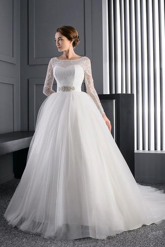 Vestido de novia Manga larga Iglesia Mangas Illusion Cristal tul Corte princesa - Página 1