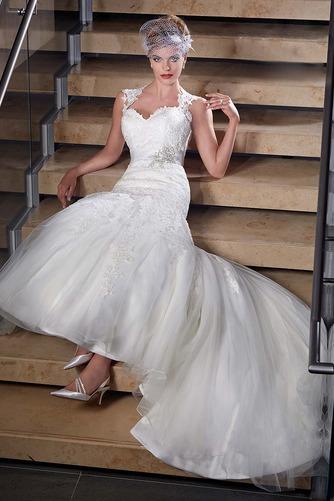 Vestido de novia Corte Sirena Apliques Sin mangas Escote Corazón Satén - Página 3