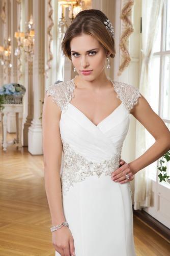 Vestido de novia Corte Sirena Abalorio Queen Anne Cremallera Gasa Elegante - Página 3